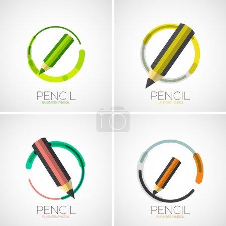 Illustration pour Ensemble d'icônes crayon, logo de l'entreprise, concept de symbole d'entreprise, style de ligne minimal - image libre de droit