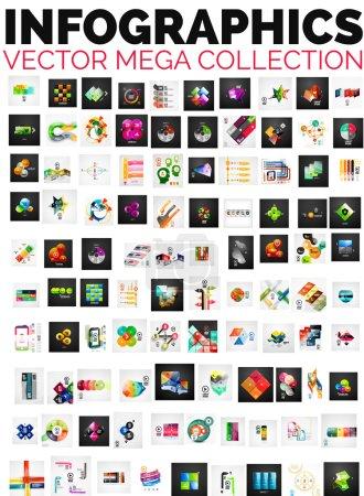 Illustration pour Mega collection de 100 mises en page infographiques - bannières, arrière-plans, modèles de brochures - image libre de droit