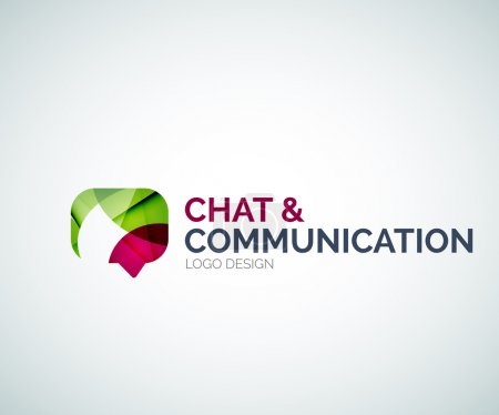 Illustration for Abstract chat and communication logo design made of color pieces - various geometric shapes - Royalty Free Image