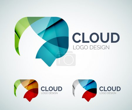 Abstract chat cloud logo design made of color piec...