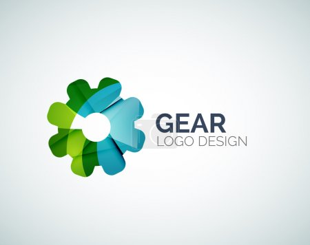 Illustration for Abstract gear logo design made of color pieces - various geometric shapes - Royalty Free Image