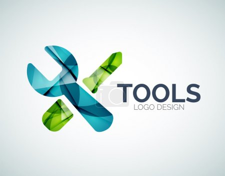 Tools icon logo design made of color pieces