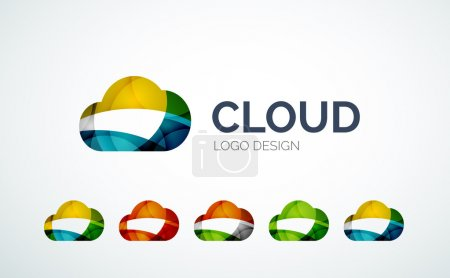 Cloud logo design made of color pieces