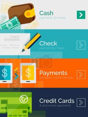 Set of flat design concepts payment online