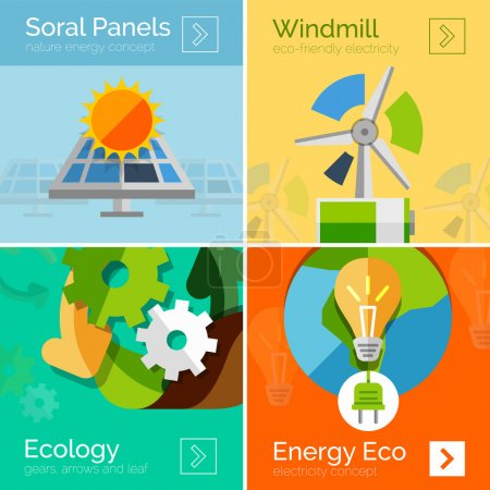 Illustration for Eco-friendly energy flat design concepts, banners. Solar panels and sun, windmill, Earth and light bulb - Royalty Free Image