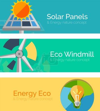 Illustration pour Concepts de design plat à énergie écologique, bannières. Panneaux solaires et soleil, moulin à vent, Terre et ampoule - image libre de droit