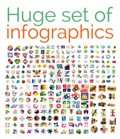 Illustration for Huge mega set of infographic templates, set 1 - Royalty Free Image