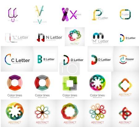 Illustration pour Ensemble de différents logos d'entreprise universels lettres, symboles d'entreprise, boucles, concepts, flèches, infinité - image libre de droit