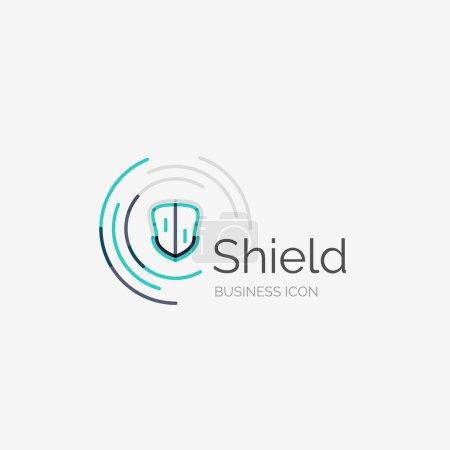 Illustration pour Ligne mince logo design soigné, concept moderne propre, icône de bouclier - image libre de droit