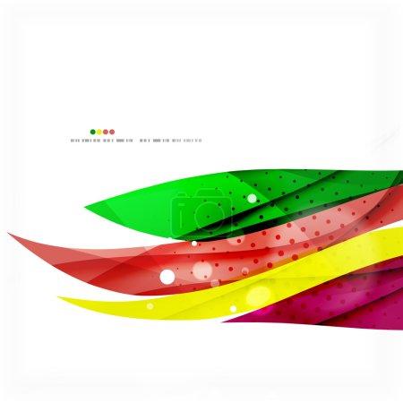 Illustration pour Arc-en-ciel lumineux lignes aériennes arrière-plan, couleurs vert et jaune - image libre de droit