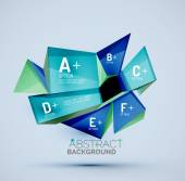 3d geometric shapes with sample text Abstract template with place for text or infographic options Triangles squares cubes rectangles in glossy style Vector illustration
