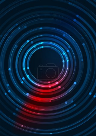 Illustration for Abstract color glowing lines in dark space with stars and light effects. Futuristic circle background with copyspace for your message - Royalty Free Image