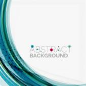 Blue wave abstract background lines on white template