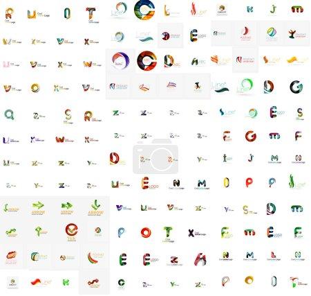 Illustration for Mega set of geomeric letter company logos. Corporate business branding design elements - Royalty Free Image