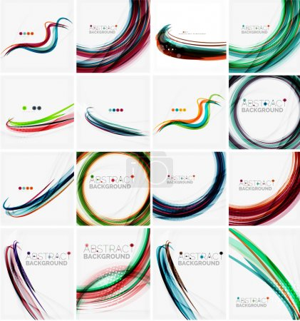 Ilustración de Conjunto de fondos abstractos. Círculos, espirales y ondas con copyspace para su mensaje. Banner publicidad diseños - identidad, plantillas y fondos de pantalla. Ilustración de vector - Imagen libre de derechos