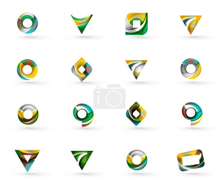 Illustration for Set of various geometric icons -  rectangles triangles squares or circles. Made of swirls and flowing wavy elements. Business, app, web design logo templates. Vector illustration - Royalty Free Image