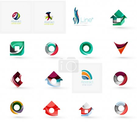 Illustration pour Ensemble de diverses icônes géométriques rectangles triangles carrés ou cercles. Fait de tourbillons et d'éléments ondulés fluides. Entreprise, app, modèle de logo de conception Web - image libre de droit
