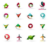 Set of abstract travel logo icons Business app or internet web symbols Thin lines and colors with white