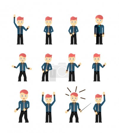 Illustration for Set of cute young businessmen character poses isolated on white. Vector illustration - Royalty Free Image