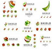 Sada společnosti logotyp značky vzorů, štít ochranu koncept ikony