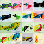 Set of triangle geometric 3d forms Modern info banner abstract backgrounds