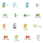 Set of colorful abstract letter corporate logos created with overlapping flowing shapes Universal business icons for any idea isolated on white