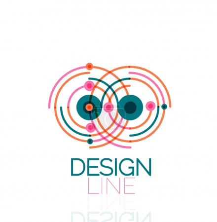 Illustration for Outline swirl and circle minimal abstract geometric logo, linear business icon made of line segments, elements. Vector illustration of loop, inifnity concepts - Royalty Free Image