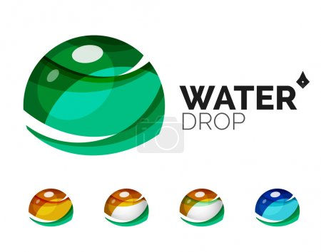 Set of abstract eco water icons, business logotype nature green concepts, clean modern geometric design