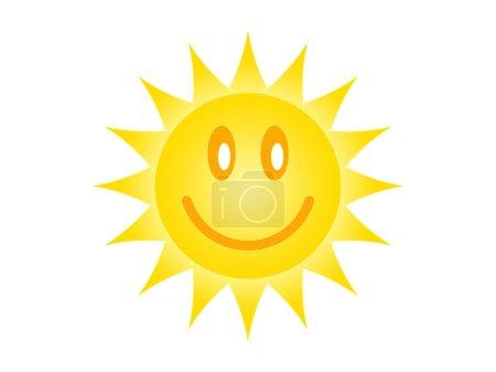 Symbole du soleil sur fond blanc