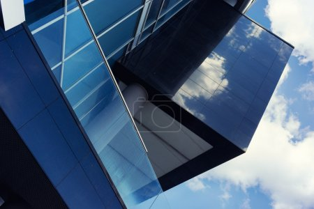Photo for Front of the house with glass and concrete and grifichnymi and clean lines - Royalty Free Image