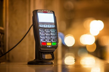 Credit Card payment Terminal at ticket office at Grand Central railway station in New York city
