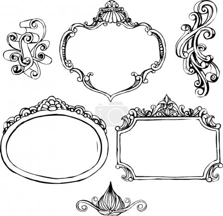 Illustration for Set of black decorative doodle frames with ornaments - Royalty Free Image