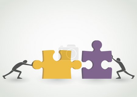 Illustration for Concept of teamwork - connecting together yellow and purple pieces of puzzle - Royalty Free Image