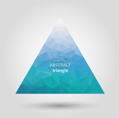 Abstract vector blue triangle icon with shadow...