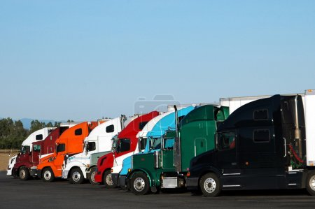 Semi Trucks Lined Up In A Row