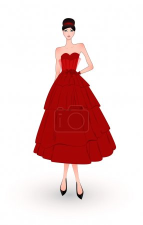 fashion girl in red evening dress