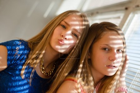 2 blond young women beautiful sisters or girl friends in blue dress having fun posing looking at camera against sun lighted rays through window blinds close up portrait image