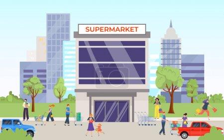 Fröhliche Menschen, Einkaufen, Großstadt-Supermarkt, Hausfassade auf der Straße, erfolgreicher Einzelhandel, Vektor-Illustration im Cartoon-Stil.
