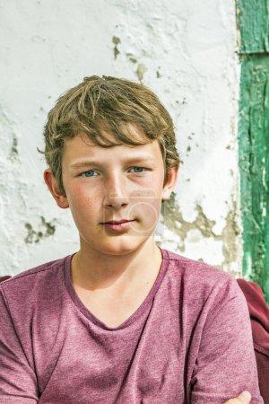 portrait of happy young teenage boy