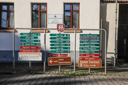 Erbach, Germany - January 10, 2021: signage for re...