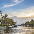 Luxurious waterfront homes and yachts at the canal...