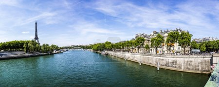 Paris with view at Eiffel tower - the Seine river and residentia