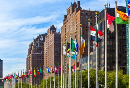 Photo pour Flags of members of UN in New York, America - image libre de droit