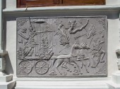balinese warriors with horses at a plate in water temple of Uju