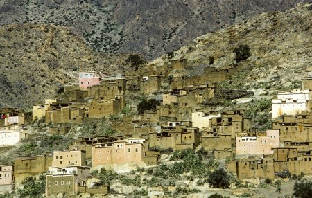 Atlas Mountains with small village view