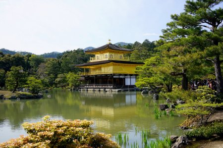 Photo for Kinkakuji view with reflection on pond, Kinkakuji (golden pavilion temple) is the most well-known Zen Buddhist temple in Kyoto - Royalty Free Image