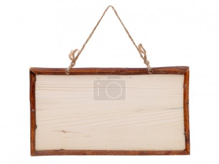 Wood plank banner with rope
