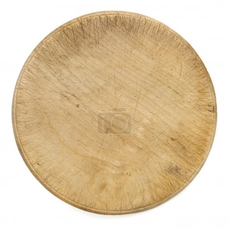 Photo for Old round wooden chopping board isolated on white.  Top view. - Royalty Free Image