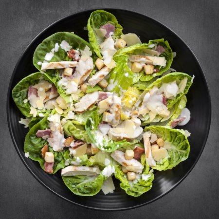 Chicken Caesar Salad Overhead View