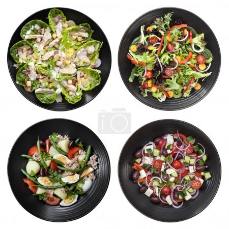 Photo for Set of different salads on white background.  Includes chicken caesar, garden, nicoise, and Greek. - Royalty Free Image